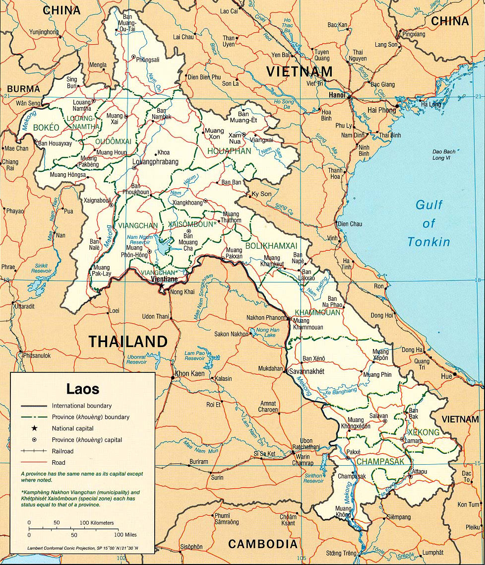 Landkarte Map Laos